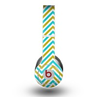The Gold & Blue Sharp Chevron Pattern Skin for the Beats by Dre Original Solo-Solo HD Headphones