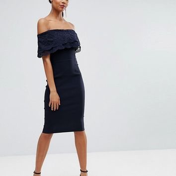 Vesper Bandeau Pencil Dress With Eyelash Lace Frill Overlay at asos.com
