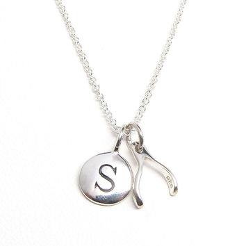 Silver Initial & Wishbone Charm Necklace