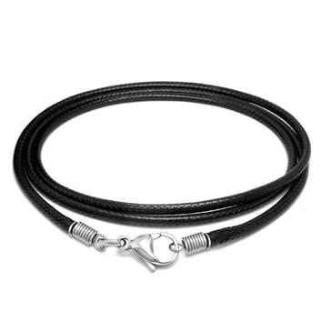 Simple black Weave Flax wax rope Fashion Leather Men's Necklace
