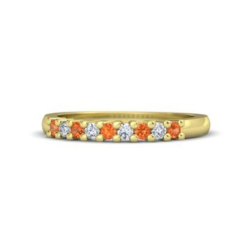 18K Yellow Gold Ring with Fire Opal & Diamond