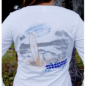 Country Shore Beach UPF Ladies V-Neck Long Sleeve Tee