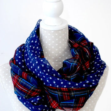 Scottish Grid and Dots Infinity Scarf Dark BLUE Loop scarf with different patterns Great with your outfit