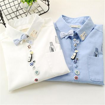 Women fashion elegant school style Toothbrush print pocket button turn-down collar blouse bow shirt casual brand female ZY1025