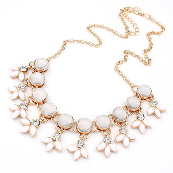 Cute Flower Opals Resin Bubble Beads Necklaces & Pendant Statement Necklace Fashion Women Jewelry Kolye For Girls Gift Party