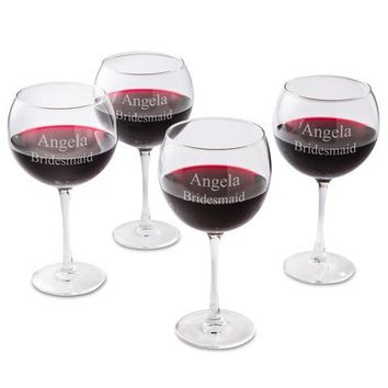 Free Personalization Red Wine Glasses Set of 4