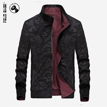 Field Base Autumn Bomber Jackets Men Reversible Casual Jacket For Men's Camouflage Zipper Outerwear Slim Fit Male Coats M-3XL