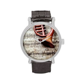 horn ornament on music vintage strap watch