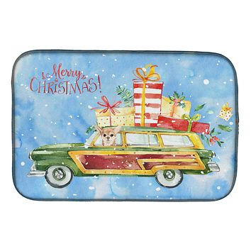 Merry Christmas Chihuahua Dish Drying Mat CK2449DDM
