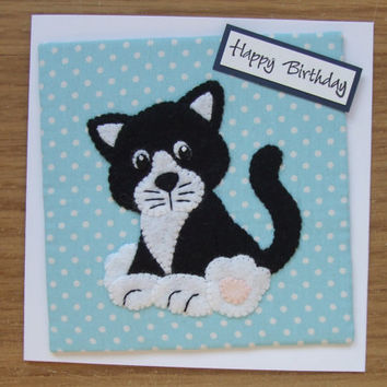 Handmade Felt Fabric Cute Cat Birthday Card Greetings Card Fabric Cards