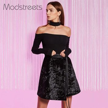 Women Blouses Sexy Black Slash Neck Shirts Long Sleeve Backless Slim Tops Off Shoulder Night Club Wear