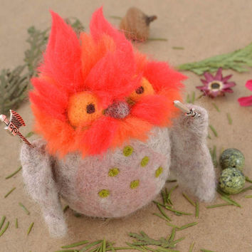 Felted handmade wool toy Owl Defender nature textile eco soft home decoration