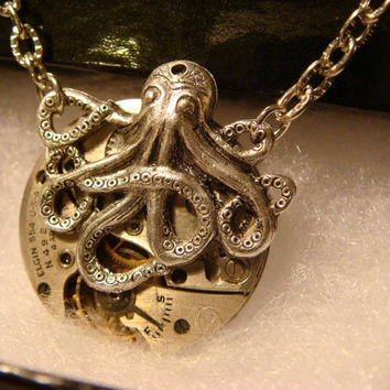 Steampunk Octopus Necklace on Vintage Watch Movement with Exposed Gears - Neo Victorian-Upcycled- (1106)