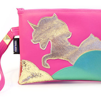 Majestic Gold Metallic Unicorn Zipper Clutch Bag With Wristlet | Fantasy Purse | Geek Chic