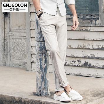 long trousers Linen Causal pants men fashion drawstring high-quality Slim Straight males clothes