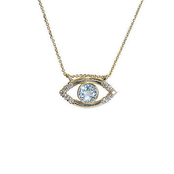 Blue Eye Topaz And Diamonds, Eye Necklace, Eye Pendant,  Blue Eye Pendant ,  Eye with Diamonds and Topaz
