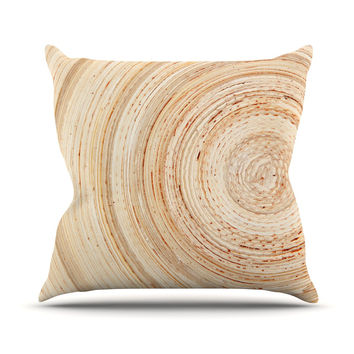 "Susan Sanders ""Ring of Life"" Tan Beige Outdoor Throw Pillow"