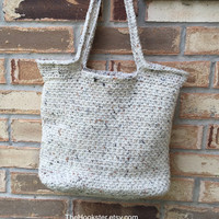 "Large Crocheted Tote in Cream Tweed, Fully Lined in Coordinating Print Fabric, College Book Bag, Shopper, Shoulder Bag,  13"" x 12"" x 5.5"""