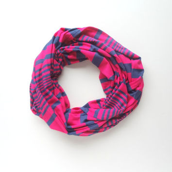Jersey Infinity Scarf, Hot Pink Scarf, Neon Infinity Scarf, Striped Infinity Scarf, Bright Infinity Scarf.