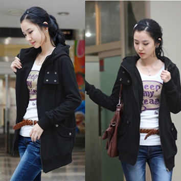 New Fashion New Korea Women's Zip Up Long Top Hoodie Coat Jacket Many Buttons Sweatshirt Outerwear Fleece