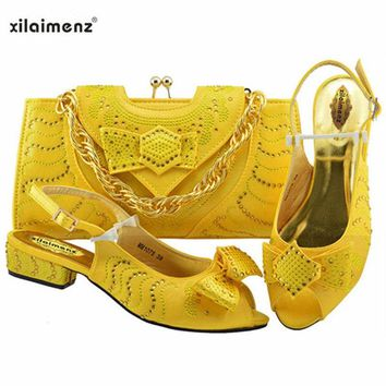 40% Discount Yellow Color African Ladies Autumn Hot Sale Shoes Matching Bag With Crystal For Dress And Party Italian Shoes