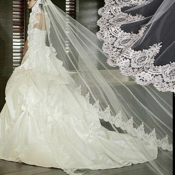In Stock 2016 Real Photos White Ivory Wedding Veil 3m Long Lace Mantilla Bridal Veil Wedding Accessories Veu De Noiva