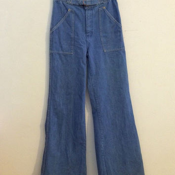 1970s bellbottom jeans highwaist jeand vintage denim