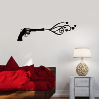 Vinyl Decal Love Romance Heart Gun Shot Wall Sticker Bedroom Decor Unique Gift (ig2662)