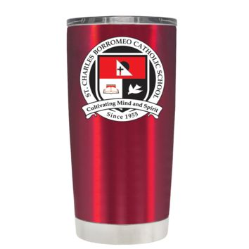 St Charles Borromeo Catholic School Crest on Translucent Red 20oz Tumbler