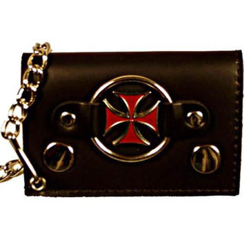 Genuine Leather Trifold Biker's Wallet ID Card Holder w/ Chain Red Chopper Cross 1046-8 (C)