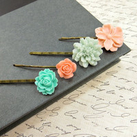 Flower Bobby Pins, Peach & Mint Bobbies Set , Spring Wedding Accessories by Flower Couture
