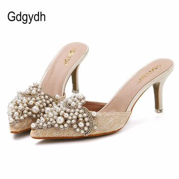 Gdgydh New Brand 2017 Summer Shoes Women Sweet Elegant Pearl Beaded High-heeled Shoes