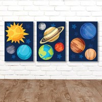 PLANET Wall Art, Planet CANVAS or Prints Outer Space Sun Planets Earth Saturn Mars, Galaxy Theme Decor, Big Boy Bedroom Wall Decor Set of 3