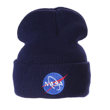 Nasa Beanie Mens & Womens Warm Winter Fashion Unisex Ski Cap Outdoor Knitted Navy Blue Cuffed Skully Hat