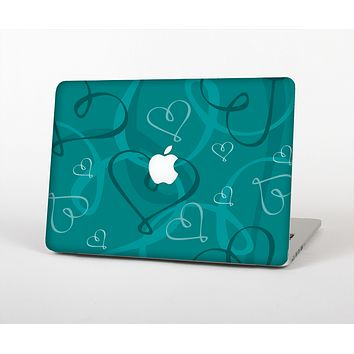 The Teal Swirly Vector Love Hearts Skin for the Apple MacBook Air 13""