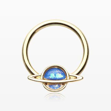 Golden Opalescent Galaxy Planet Captive Bead Ring