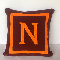 Brown orange Color Decorative Pillow Cover 18 x18, Personalized Monogrammed Pillow Case, Personalized Sofa Pillows
