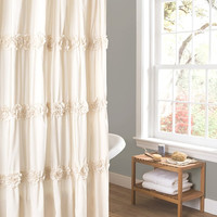 Ruched Ivory Shower Curtain