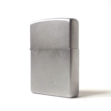 vintage 1990's zippo lighter matte silver chrome smoking cigarettes cigar retro modern metal mens womens collectible