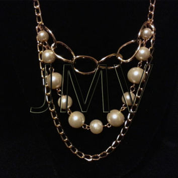 Elegant Gold Plated Faux Shiny White Pearl & Layered Chain Chains Necklace Fake
