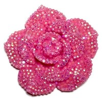 42mm hot pink rhinestone flower chunky bubblegum bead pendant
