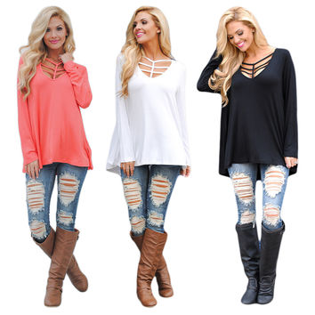 2017 Summer New Women Sexy T-shirt Style Sexy Top V-neck Fashion Club Wear Hollow Solid Color Loose Tshirt Cotton Long Sleeves