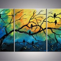 54x24 Original Abstract Modern Birds Blue Tree Art | artbyada - Painting on ArtFire
