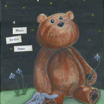 stuffed animal bear starry night sky giant teddy bear by KMericks