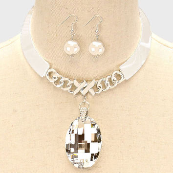 "5"" silver 2"" large crystal choker collar necklace .75"" earrings bib"