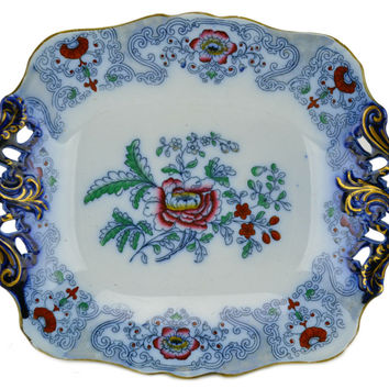 Flow Blue and Red Serving Platter on Foot Antique English 19th Century