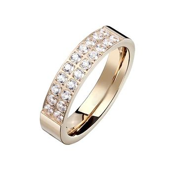 Blush Beauty - Women's Rose Gold Plated Stainless Steel Double Lined Clear CZ Stone Ring