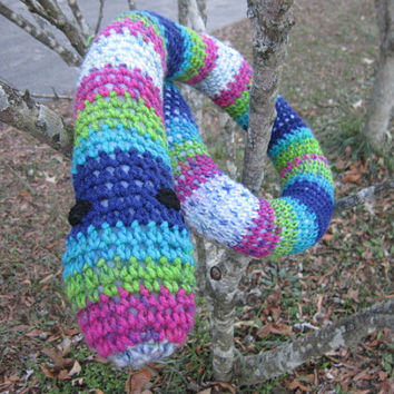 Crochet Snake Toy Door Draft Stopper Most Colorful Striped Snake