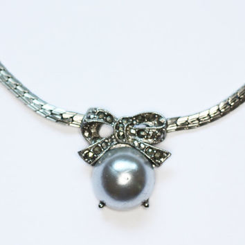 Faux Pearl with Marcasites Bow Necklace Signed 1928 Vintage