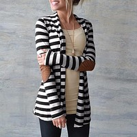 Striped Printed Patchwork Elbows Cardigan For Women